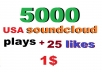 instant 5000 soundcloud p/lays and 25 favorites