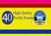 Manually HQ 40 Profile Forum Links For Your Website for $5