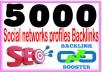 Do 5000 Social networks profiles backlinks- High PR M... for $2