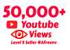 add 50,000 High Quality Youtube vie ws and 100 Lik es