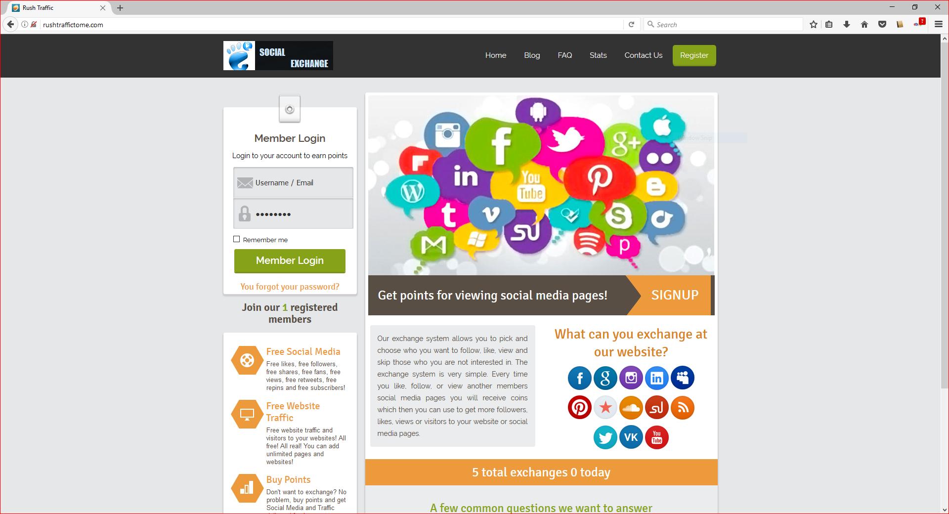 Traffic exchange website partner