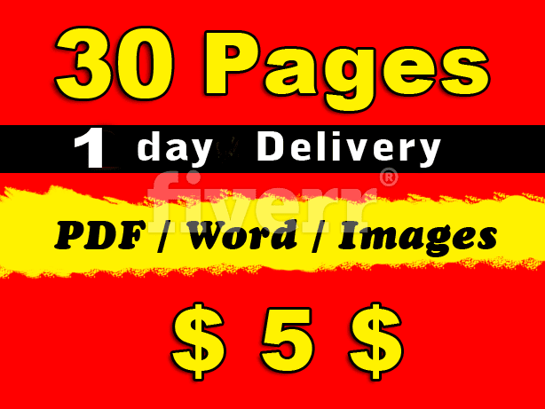 Typing 30 Pages To 24 Hoers for $5