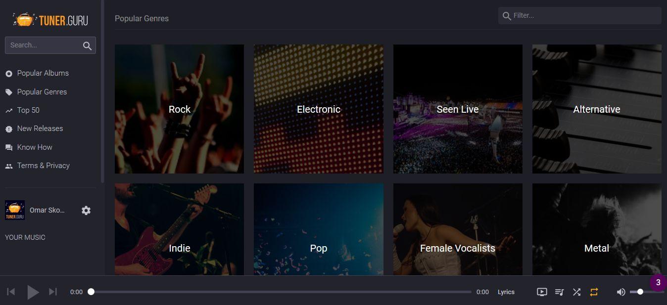 Tuner.Guru - A free music online streaming service